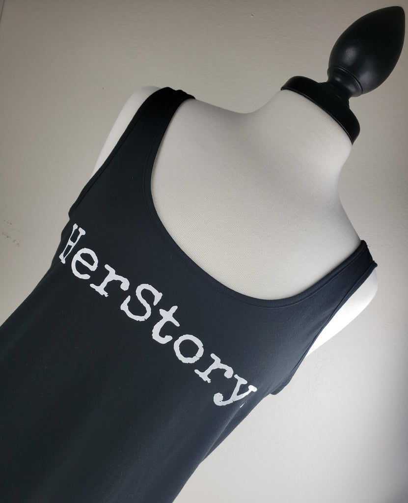 HerStory Branded Tank in Black + White
