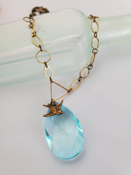 A Little Birdie Told Me So Crystal Necklace in Seascape & Brass