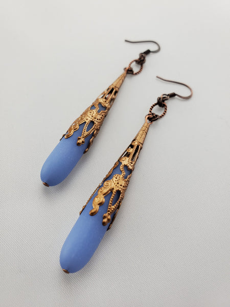 Antwerp Earrings in Periwinkle + Copper