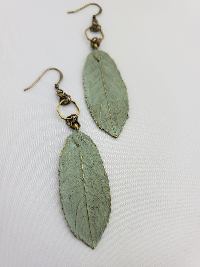 Spring Awakened Leaf Earrings in Duck Egg