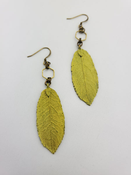 Spring Awakened Leaf Earrings in English Yellow