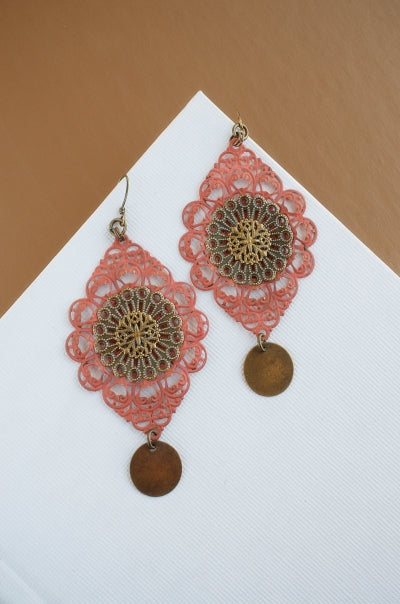 Tibetan Lace in Living Coral + Brass