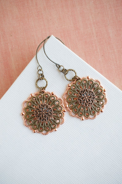 Bloom Earrings in Copper + Brass