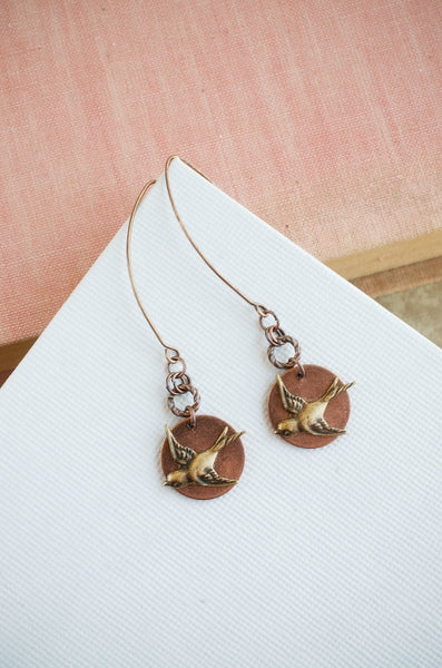 Take Flight Earrings in Copper + Brass