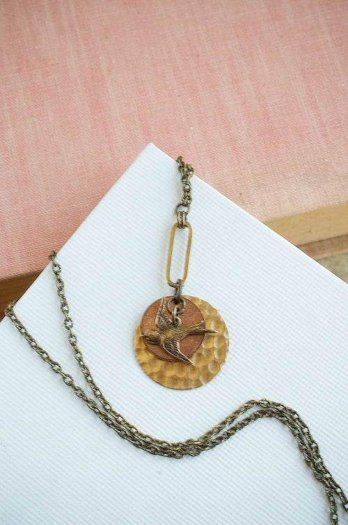 Take Flight Necklace in Brass + Copper
