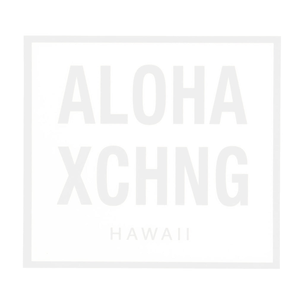 White Aloha Xchng box logo sticker