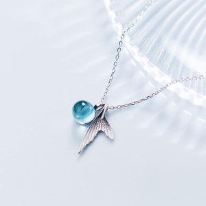 Tiny Piece of the Ocean 925 Sterling Silver Mermaid Necklace - Imoost