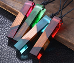 Wood Resin Rectangle Short Necklace - Imoost