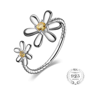 Daisy Flower Sapphire Ring 925 Sterling Silver - Imoost