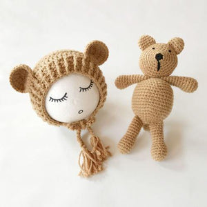 Cute Baby Bear Knit Beanie Cap & Toy - Imoost
