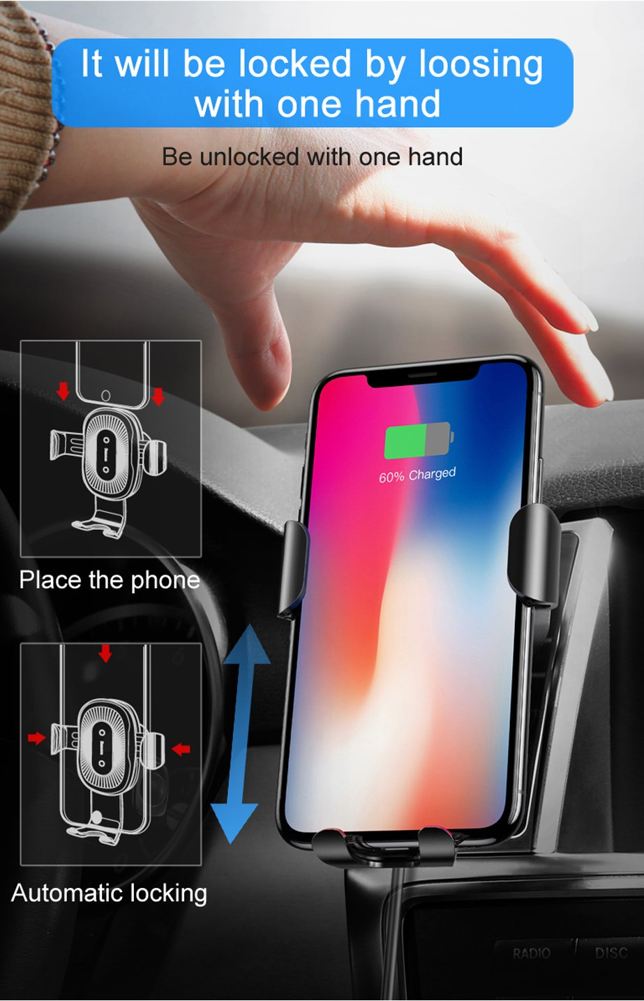 Wireless Charger Gravity Car Mount for Smartphone - Imoost