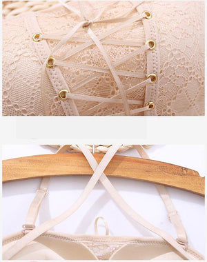 Drawstrings Push Up Lace Bra - Imoost