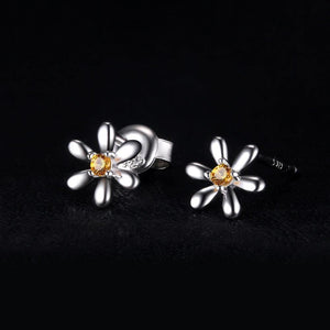 Daisy Flower Sapphire Stud Earrings 925 Sterling Silver - Imoost