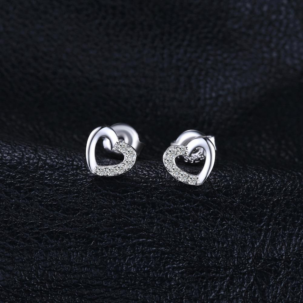 Heart Cubic Zirconia Stud Earrings 925 Sterling Silver - Imoost
