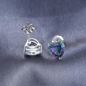 Heart Fire Mystic Topaz Stud Earrings 925 Sterling Silver - Imoost