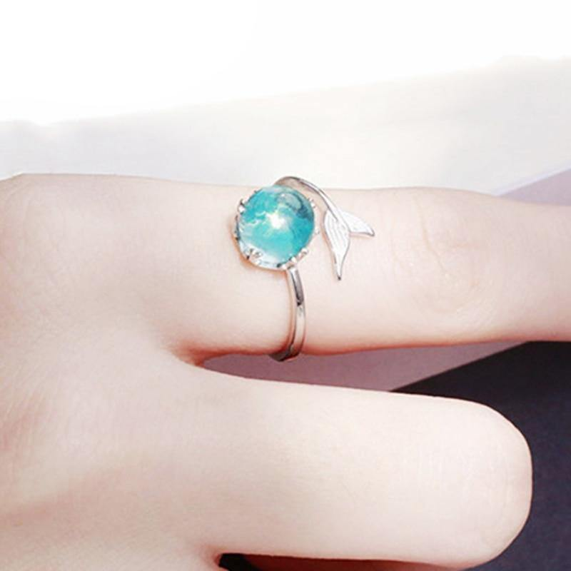 Tiny Piece of the Ocean 925 Sterling Silver Mermaid Ring - Imoost