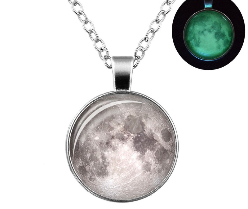Glowing Galaxy Moon Pendant Necklace - Imoost