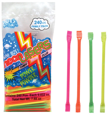 Candy Filled Straws (240 Cnt) - Neon Laser 5""
