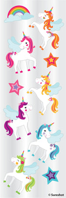 "Sticker Sht 6""x2"" Unicorn"