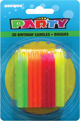 Neon Birthday Candles (20 Cnt)