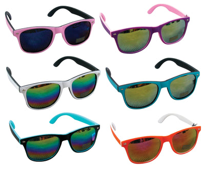 Mirror Rainbow Lenses Sunglasses (6 Asst.) 5.5""