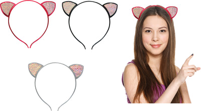 Kitty Cat Glitter Headband (3 Asst.) 6""