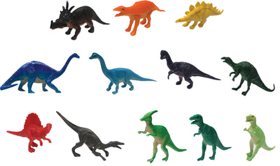 "Solid Color Dinosaurs (12 Asst.) 3.5"" - 4"""