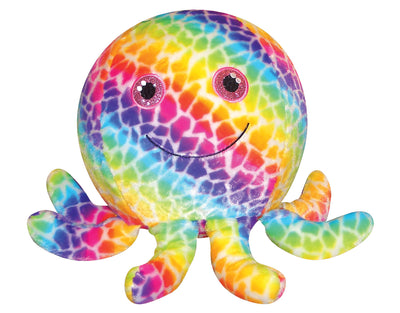 Fabric Covered Rainbow Octopus Ball 6""
