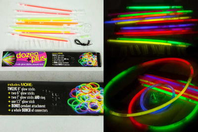 Glow Stick Pack - 17 Glow Sticks, Rings & Connectors