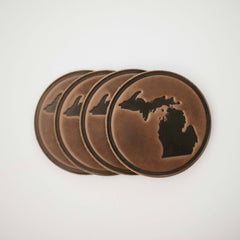 Leather Michigan Coaster