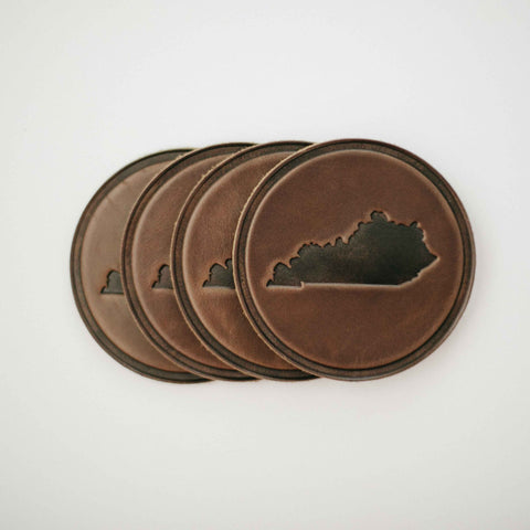 Kentucky Circle Leather Coaster