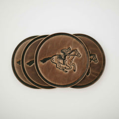 leather horse coaster