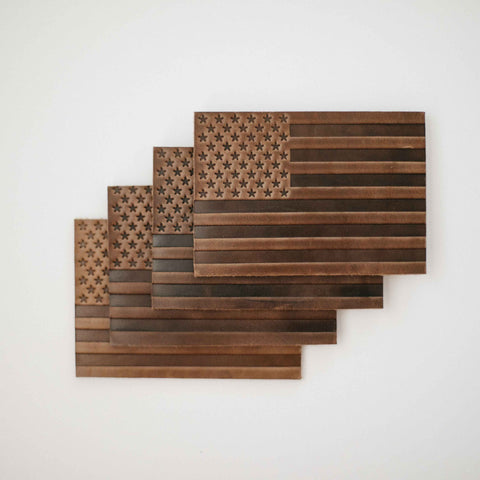 American Flag Leather Coasters