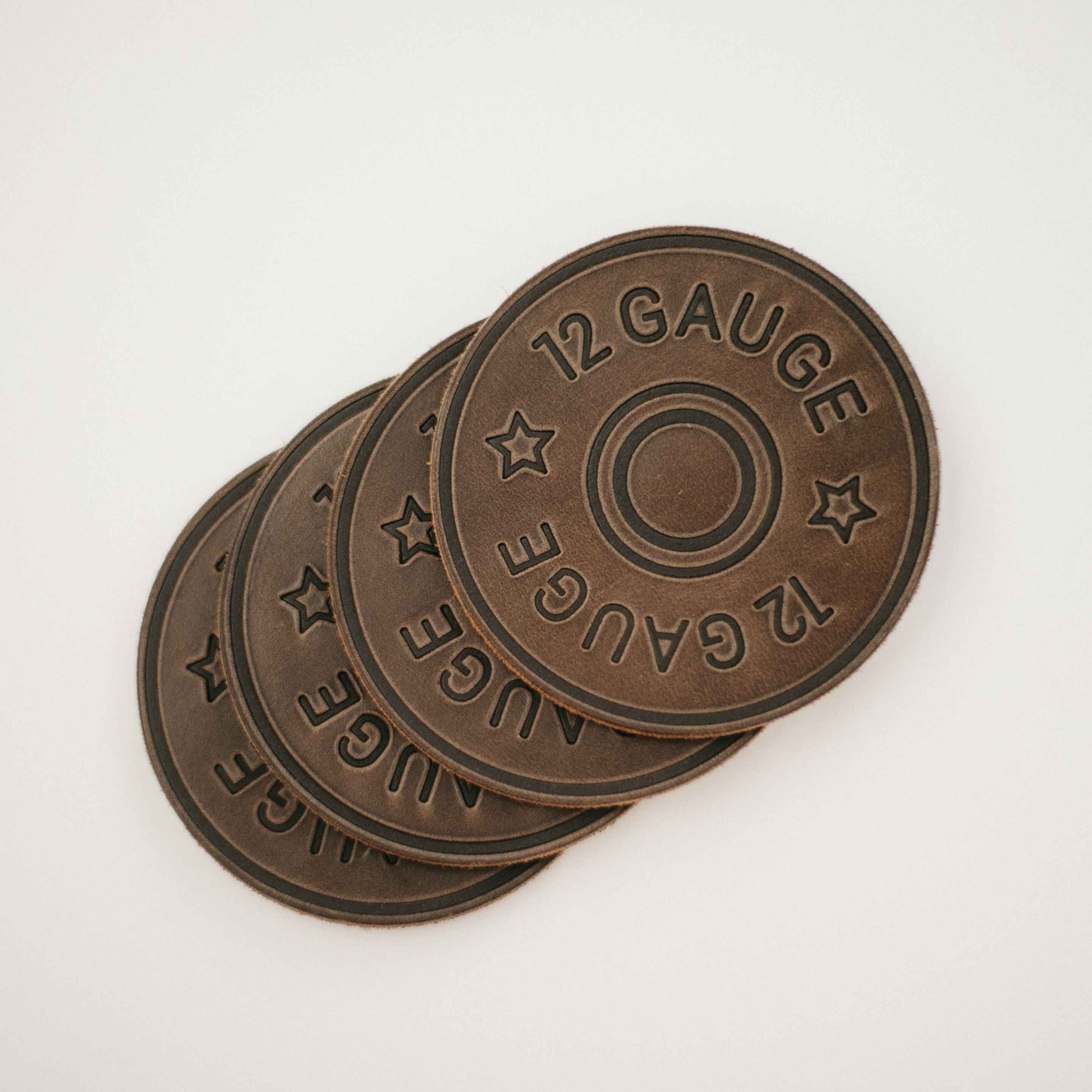 12 gauge leather coaster