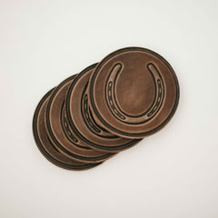 leather horseshoe coaster