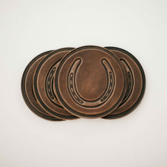 Horseshoe leather coaster