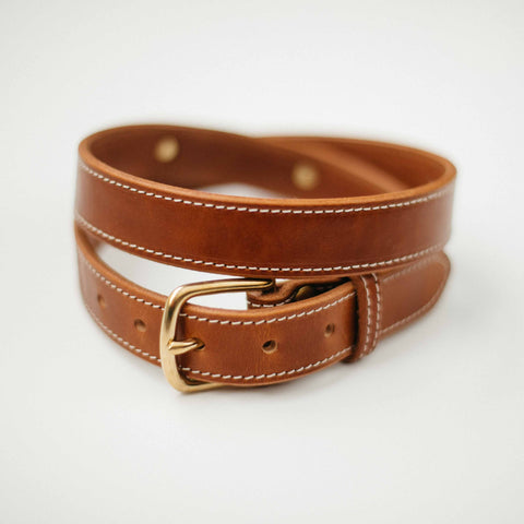 Leather Kentucky Belt with Full Brass Hardware