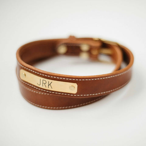 The Kentucky Belt - Stitched Antique Saddle Nameplate Belt