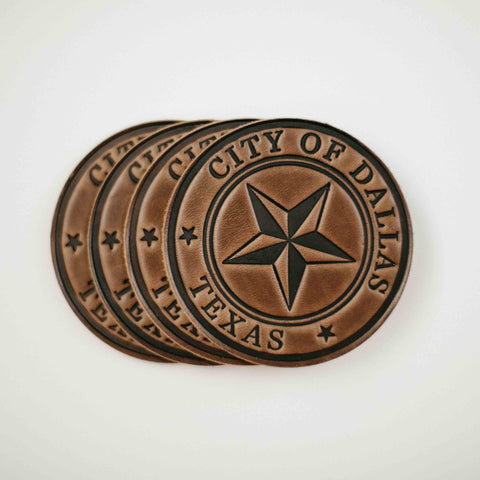 leather Dallas Coasters