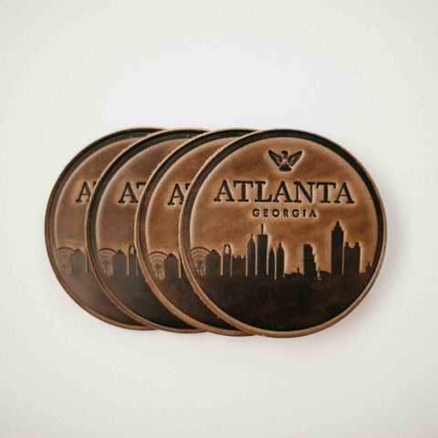 leather Atlanda skyline coasters