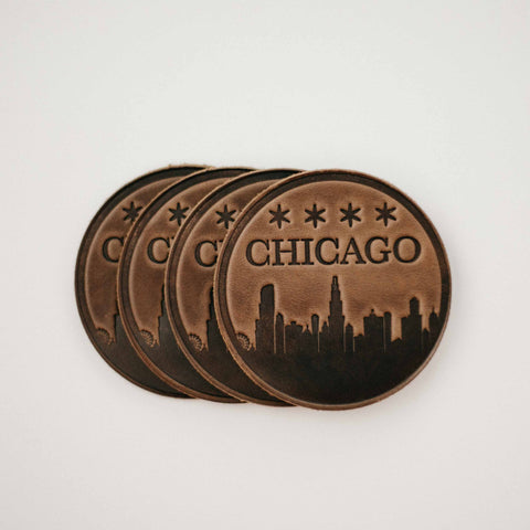 leather Chicago skyline coasters