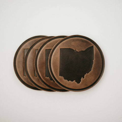 Ohio Leather Coaster