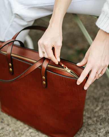 Batch II Large Tumbled Chestnut Zip Tote