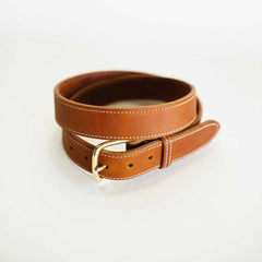 Wide Stitched Antique Saddle Belt