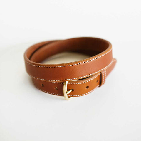 Traditional Stitched Antique Saddle Belt