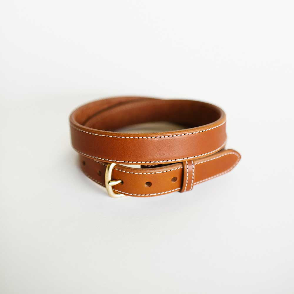 Narrow Stitched Antique Saddle Belt