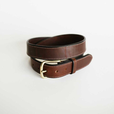 Wide Stitched Brown Bridle Belt