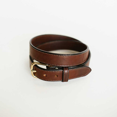 Narrow Stitched Brown Belt