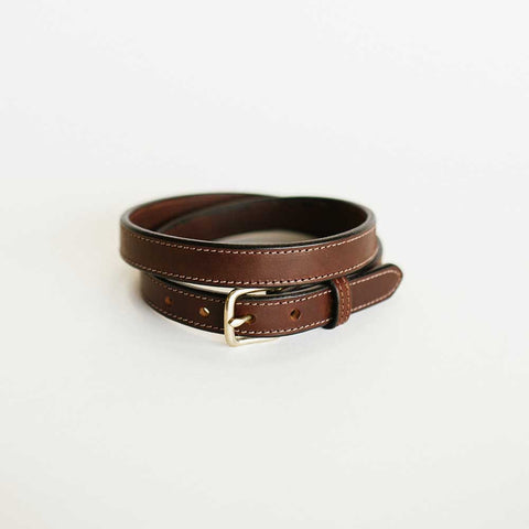 Ladies Brown Stitched Bridle Belt