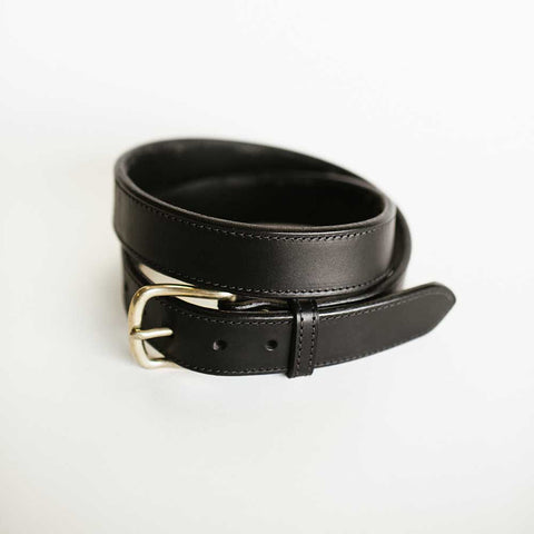 Wide Stitched Black Bridle Belt